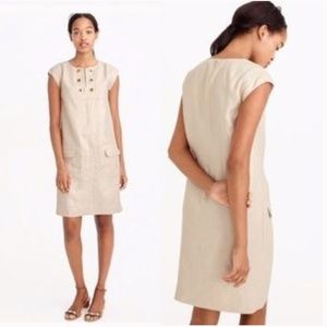 J. CREW Metallic Linen Shift Dress Grommets